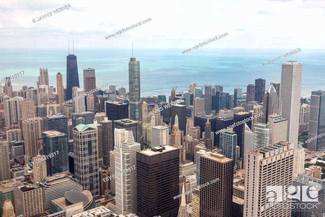 Stock Photo: Aerial view of the downtown Chicago cityscape from Willis Tower in Chicago, IL, USA.