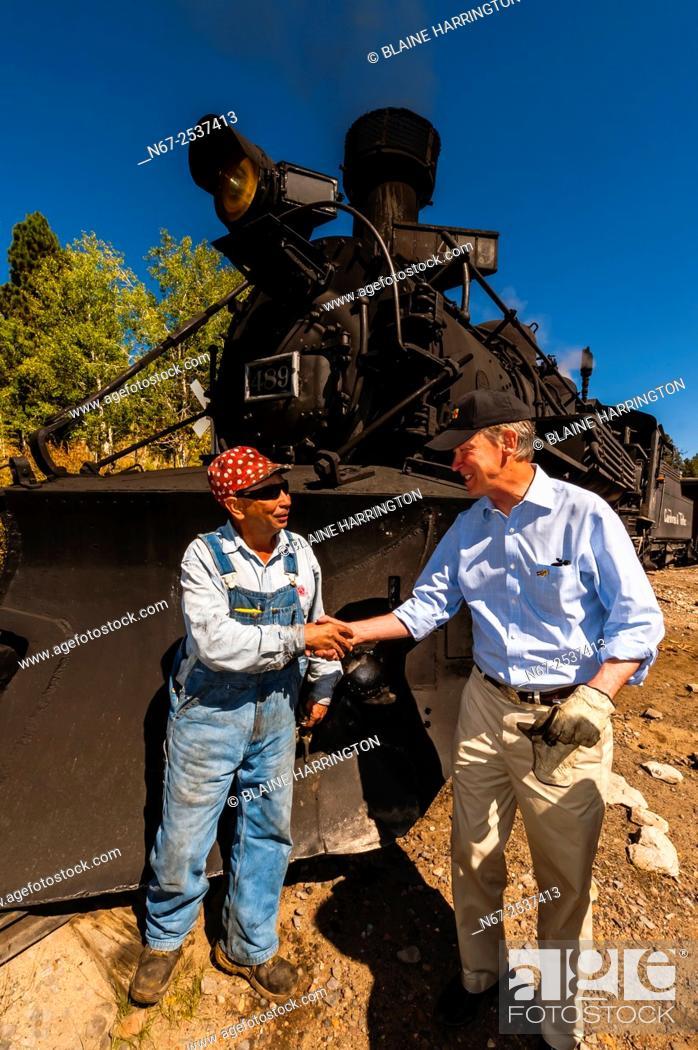 Stock Photo: Governor John Hickenlooper (of Colorado) visit aboard the Cumbres & Toltec Scenic Railroad, from Antonito to Osier, Colorado.
