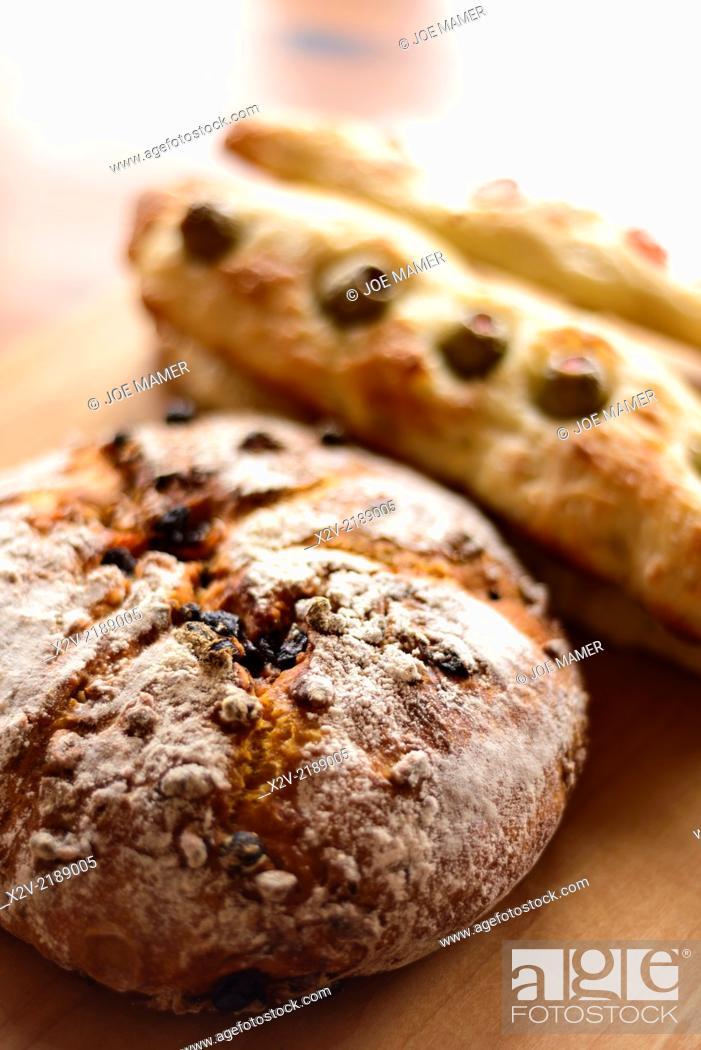 Photo de stock: Homemade breads including steccas and carrot bread.