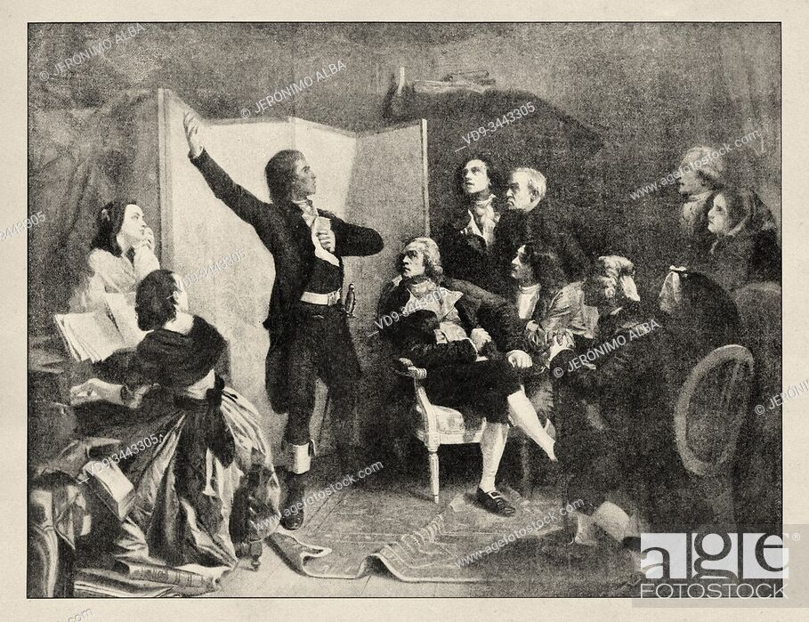 Photo de stock: Rouget de L'Isle singing the Marseillaise for the first time. French Revolution 18th century. History of France, old engraved illustration image from the book.