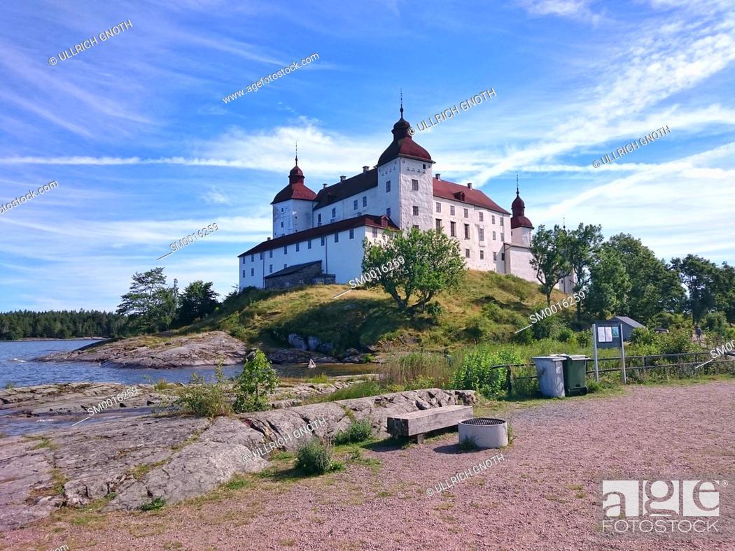 Stock Photo: Northwest view of Läckö Castle (Läckö slott) on Kalland Peninsula, Lidköping Municipality, Västra Götaland County, Sweden.