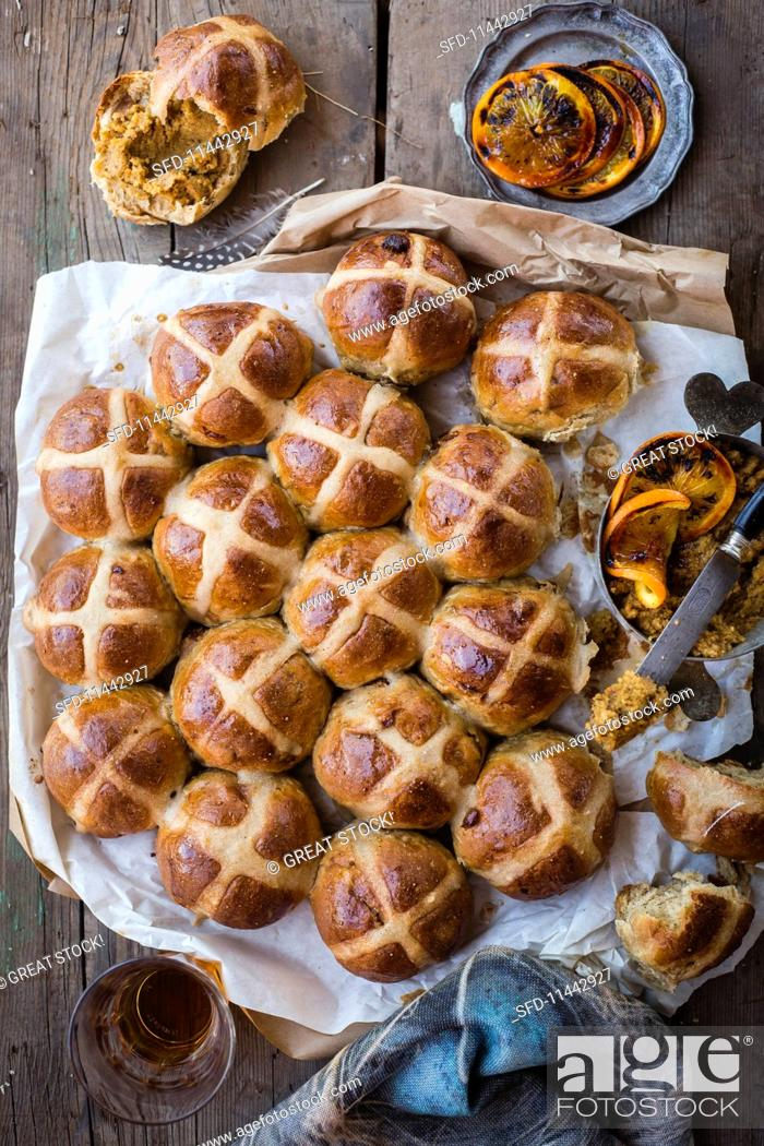 Stock Photo: Hot Cross Buns (Easter).