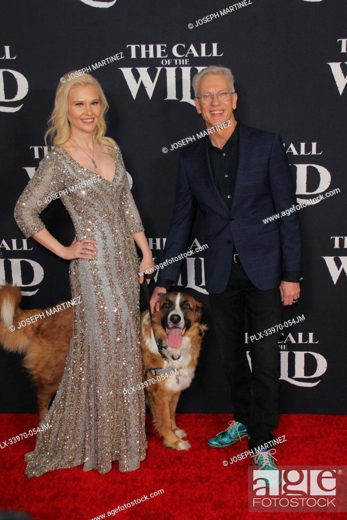 """Stock Photo: Animator Chris Sanders, Buck the dog, Guest at """"""""The Call Of The Wild"""""""" World Premiere held at El Capitan Theatre in Los Angeles, CA, February 13, 2020."""