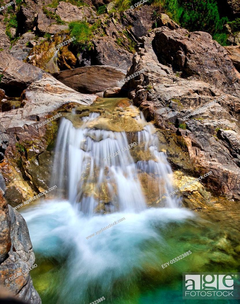 Stock Photo: Montain small waterfall at Pineta.