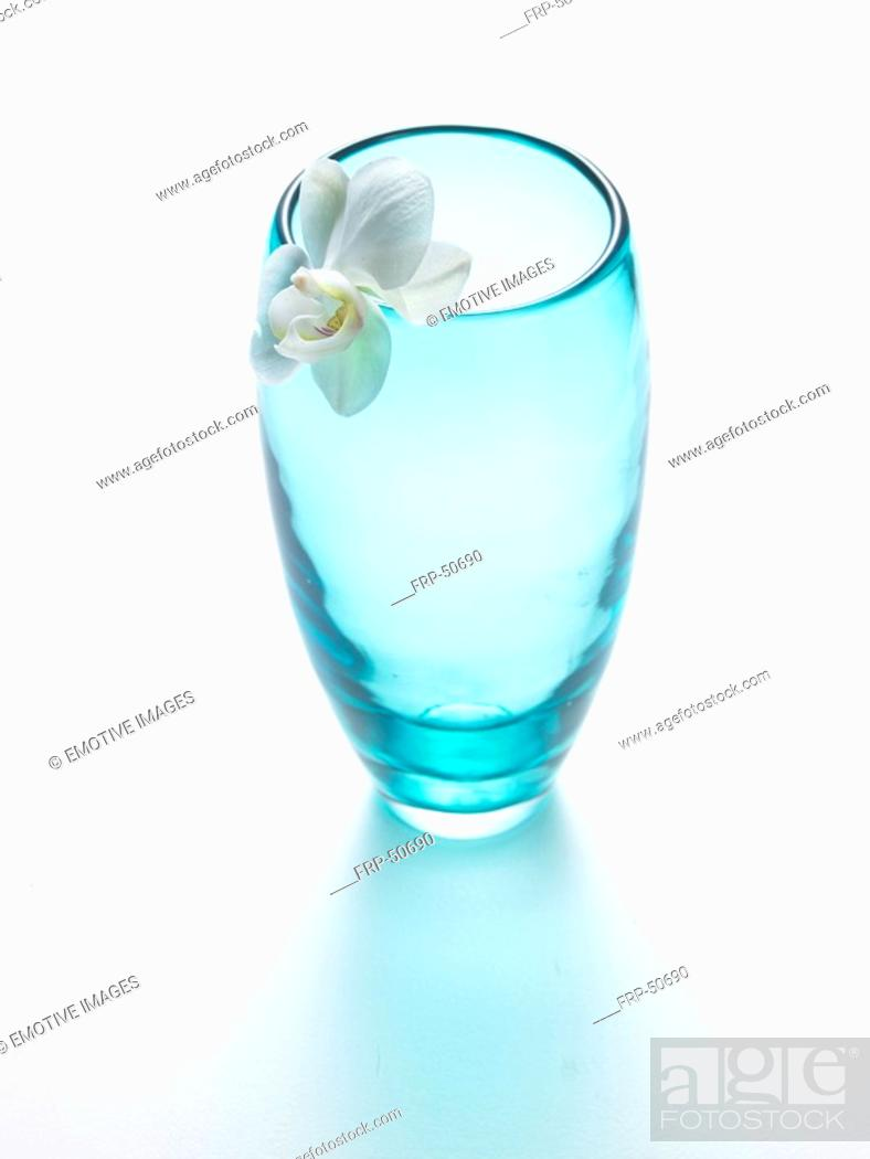 Stock Photo: Glas vase and orchid blossom.