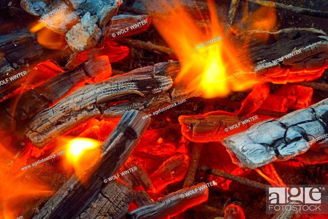 Stock Photo: Glowing Logs.