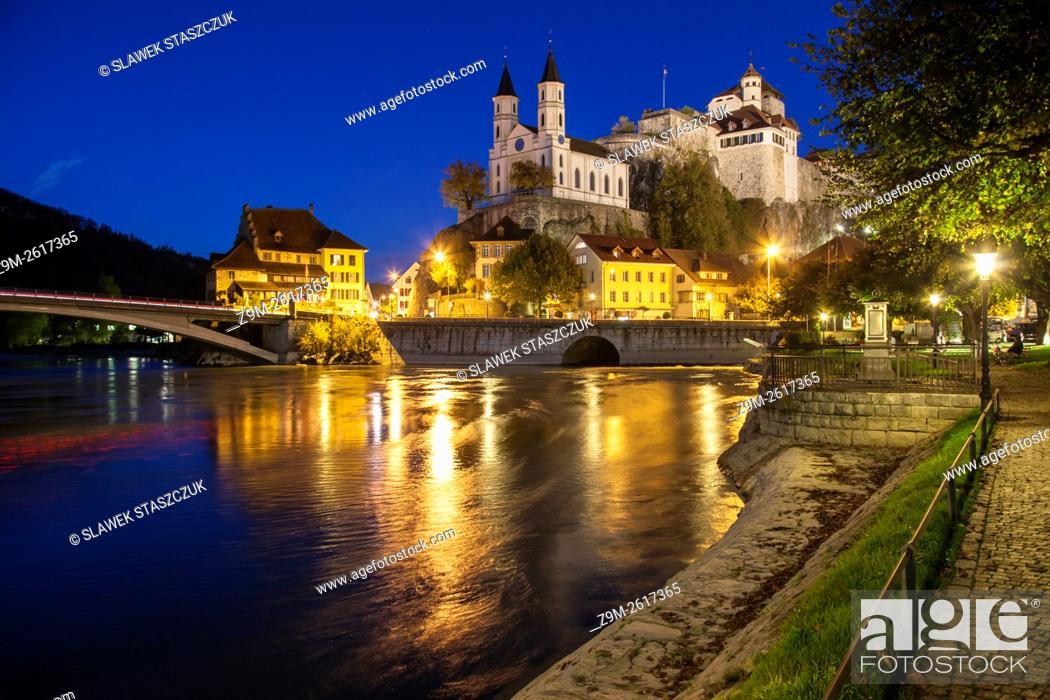 Stock Photo: Evening at Aarburg castle, canton Aargau, Switzerland.