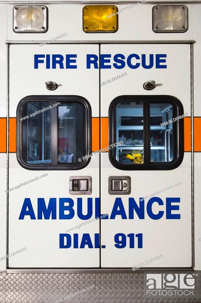 Stock Photo: Rear view of ambulance.