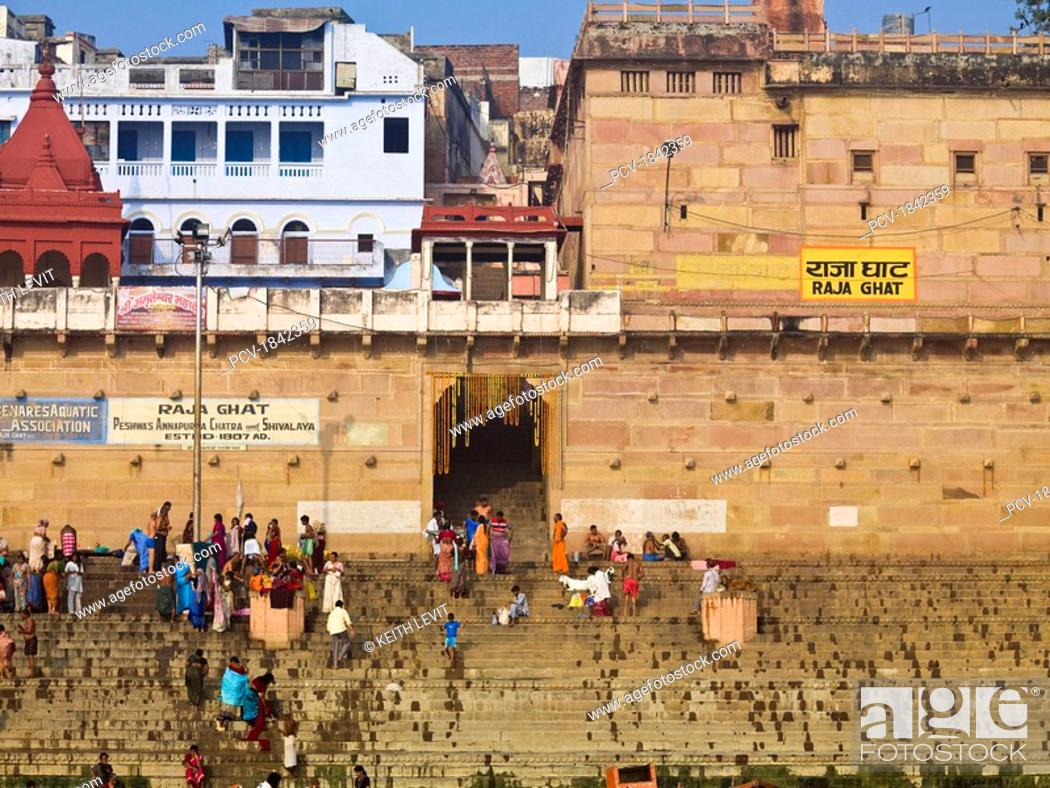 Stock Photo: The Ganges,Varanasi,India,People on the ghats that lead to the river.