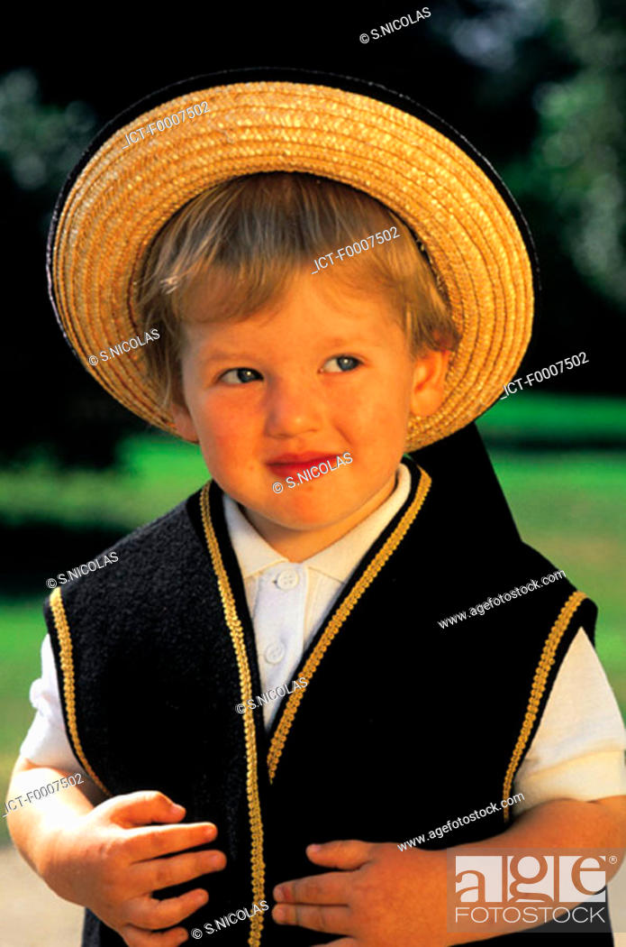 Stock Photo: France, Brittany, Boy wearing traditional costume.