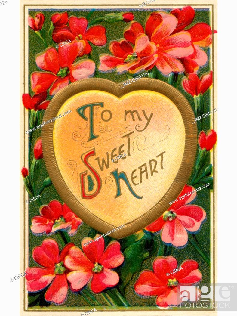 Stock Photo: A vintage To My Sweet Heart Valentines card.