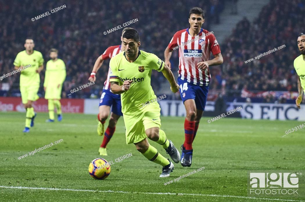 Stock Photo: Luis Suarez (forward; Barcelona) before La Liga match between Atletico de Madrid and F.C. Barcelona at Wanda Metropolitano on November 24, 2018 in Madrid, Spain.