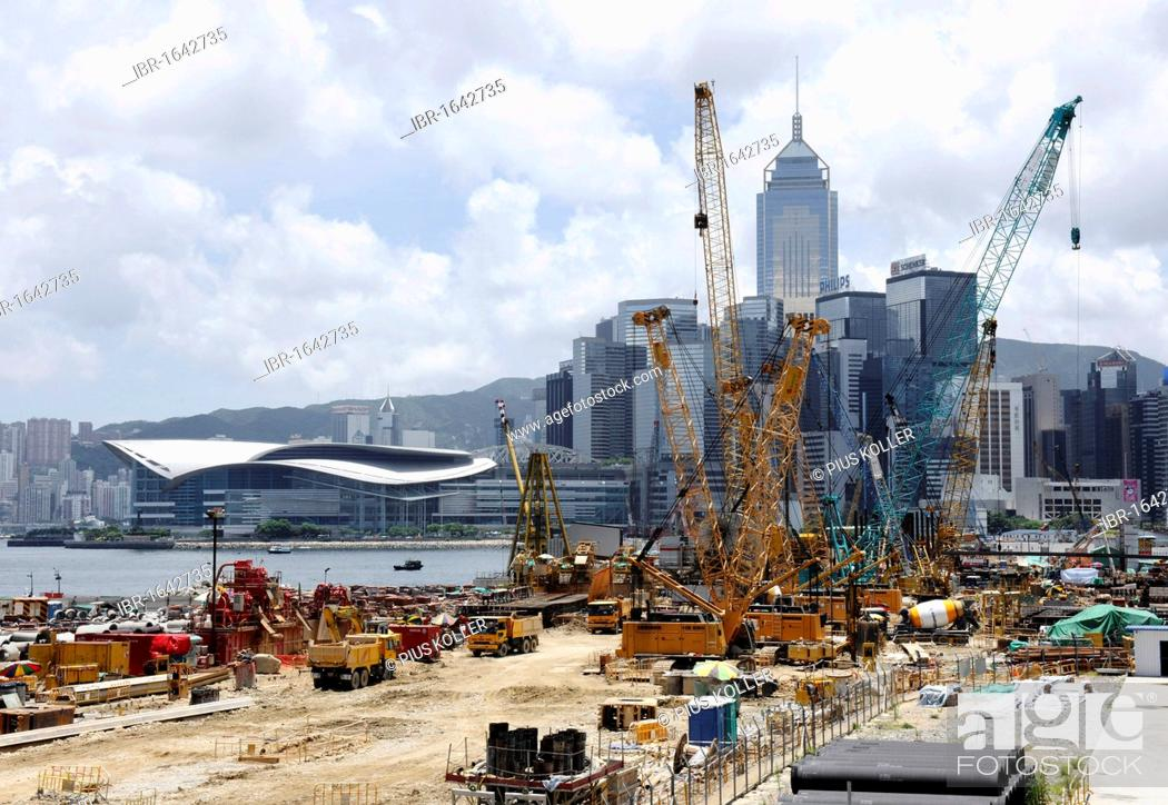 Stock Photo: Construction cranes and skyline of Hong Kong, China, Asia.