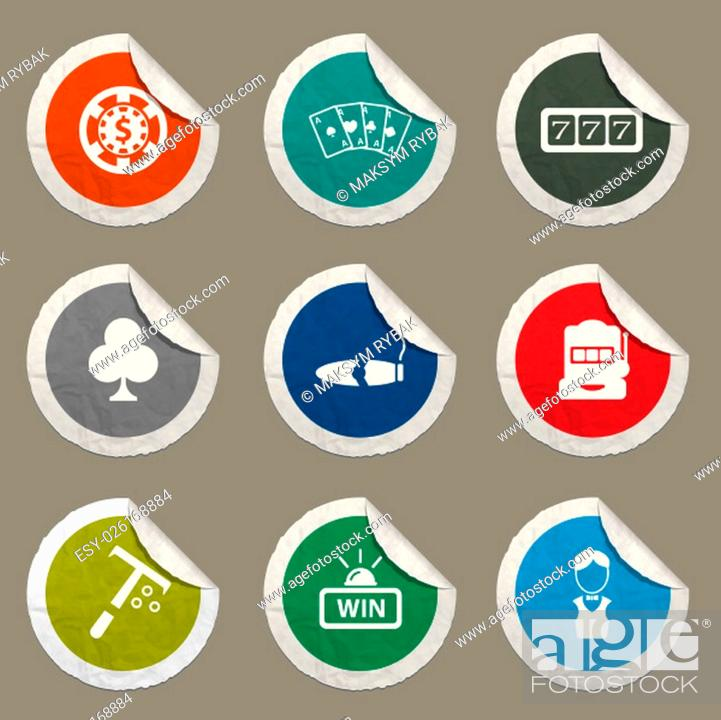 Imagen: Casino icons set for web sites and user interface.