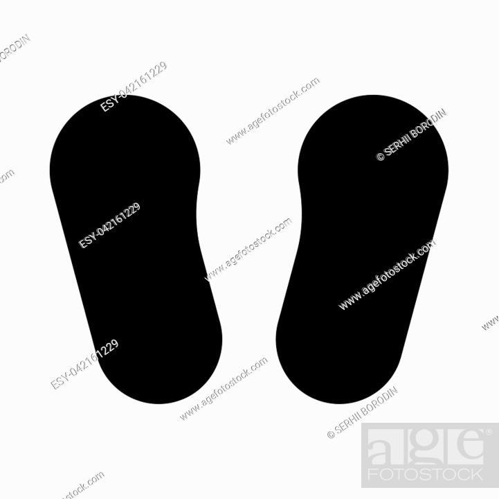 Stock Vector: Baby footprint in footwear it is black icon . Flat style.