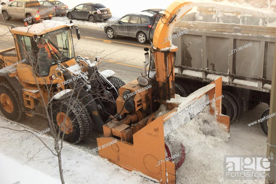 Stock Photo: Snow removal, winter, Montreal, Canada, .