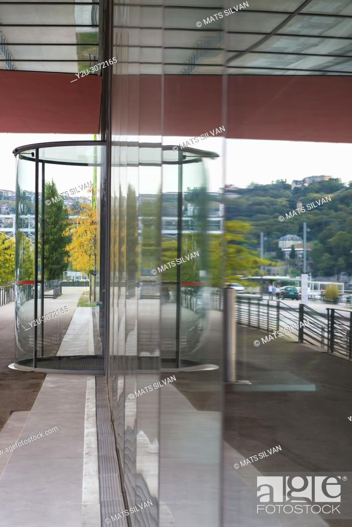 Stock Photo: Modern Building in Glass with Reflection in Lyon, France.