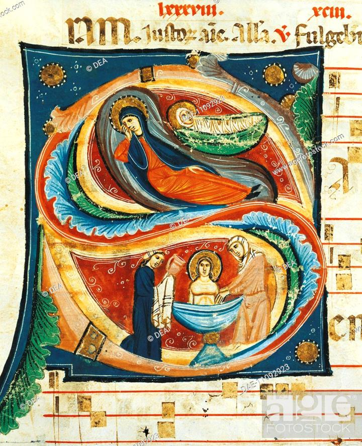 Stock Photo: Initial capital letter S, with the Nativity scene, miniature by Oderisi of Gubbio, from a medieval Choral, Italy 13th Century.