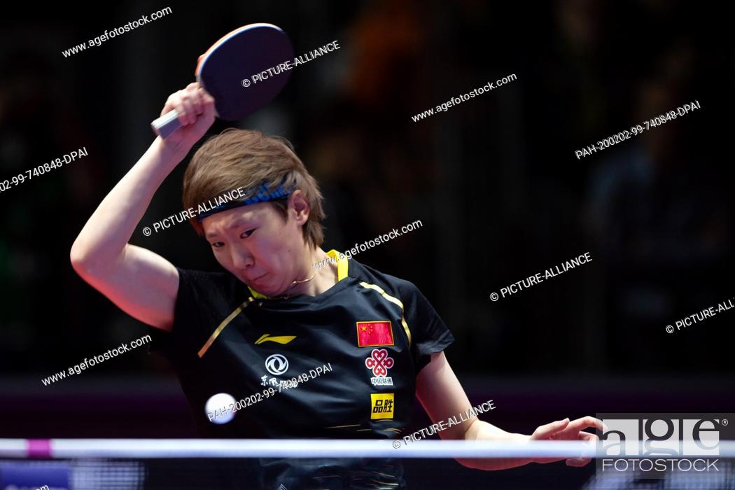 Stock Photo: 02 February 2020, Saxony-Anhalt, Magdeburg: Table tennis: German Open, women, singles, semi-finals, Ding (China) - Wang (China). Wang Manyu in action.