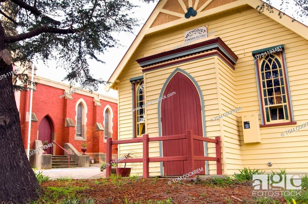 Stock Photo: church in Chewton, Victoria, Australia.