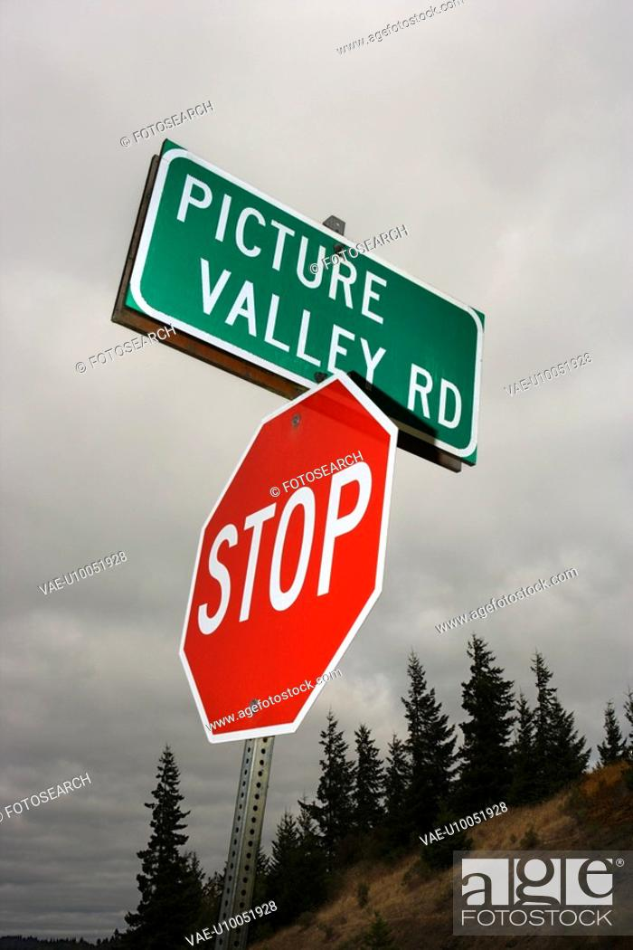 Stock Photo: Stop sign and sign reading Picture Valley Rd.