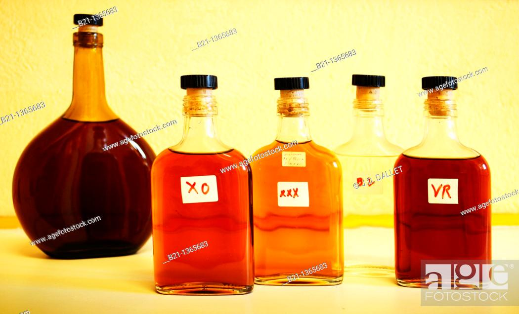 Stock Photo: France, Midi Pyrenées, Gers, Small bottles of control at the Samalens Armagnac Estate XO,Three stars, Blanche and Very Rare Armagnacs.