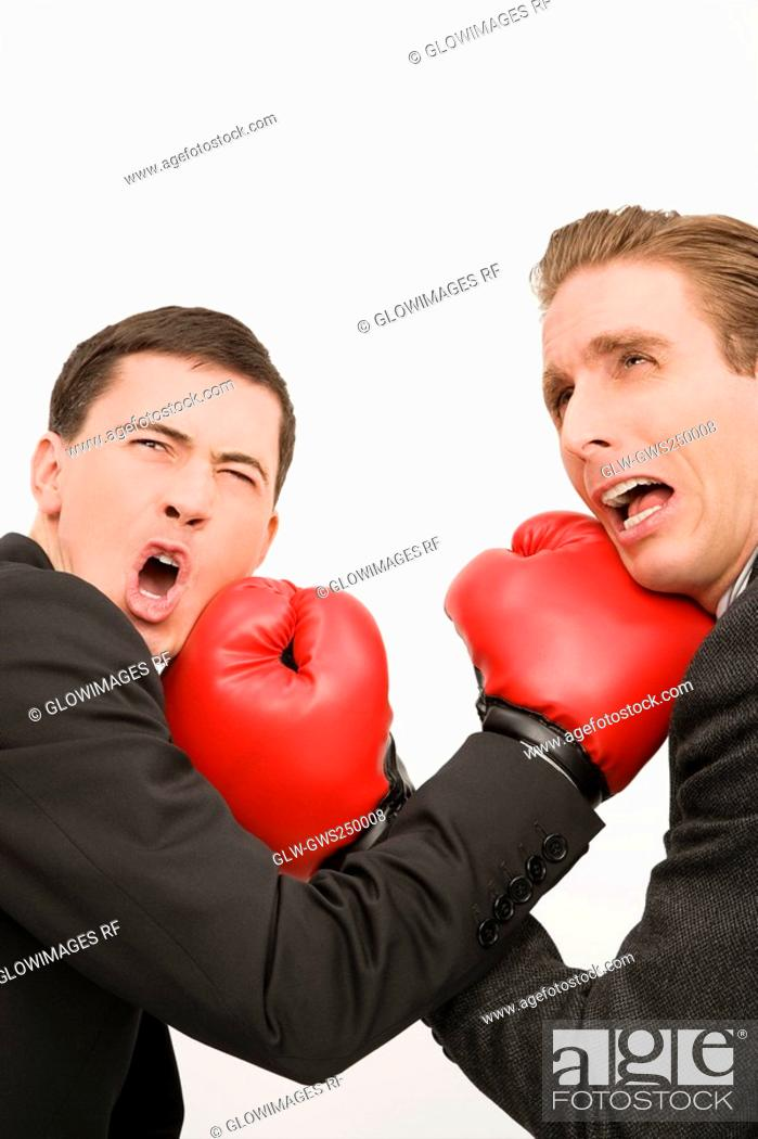 Stock Photo: Side profile of two businessmen boxing.