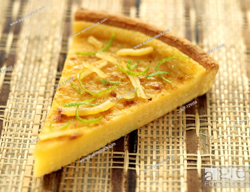 Stock Photo: Portion of lime and lemon tart.