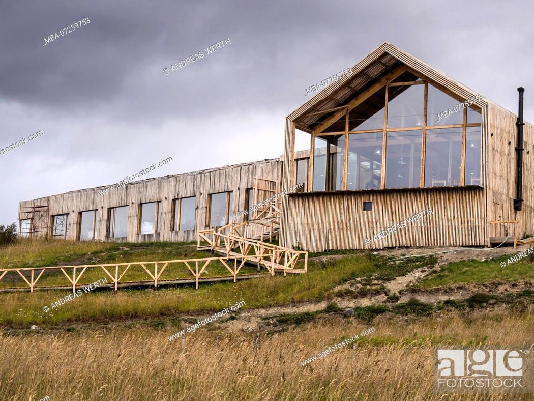 Stock Photo: Hotel Simple Patagonia ,wooden construction, large glas front, Puerto Natales, Patagonia, Chile.