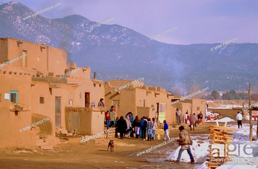 Stock Photo: winter, Taos Pueblo, New Mexico.