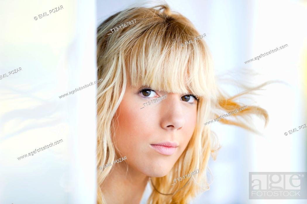 Stock Photo: Blonde teen girl portrait.