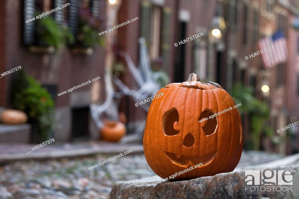 Stock Photo: Close-up of a Jack O Lantern, Acorn Street, Beacon Hill, Boston, Massachusetts, USA.