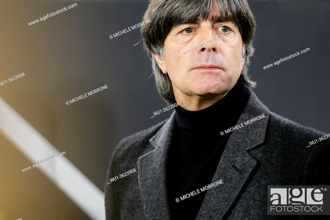 Stock Photo: Wolfsburg, Germany, March 20, 2019: German national team head coach Joachim Low during the international soccer game Germany vs Serbia.