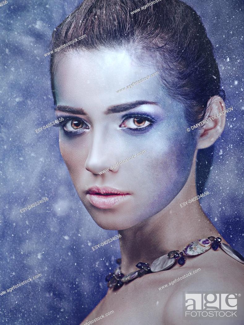 Stock Photo: Snow queen, winter female portrait, fashionable style.