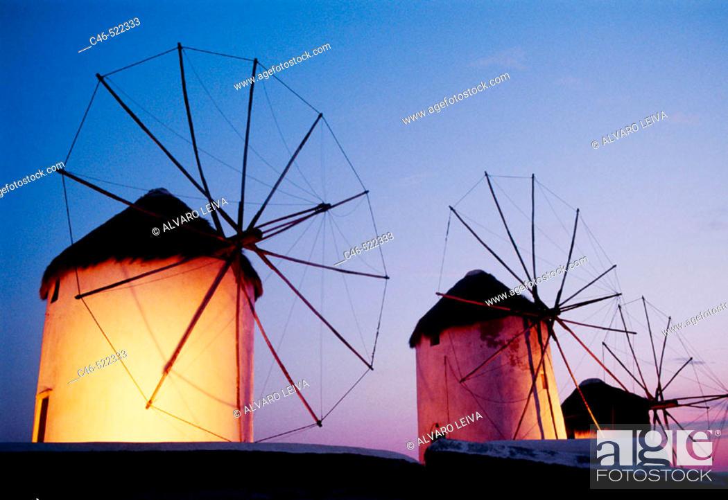 Stock Photo: Windmills on the Coast, Mykonos. Cyclades Islands. Greece.