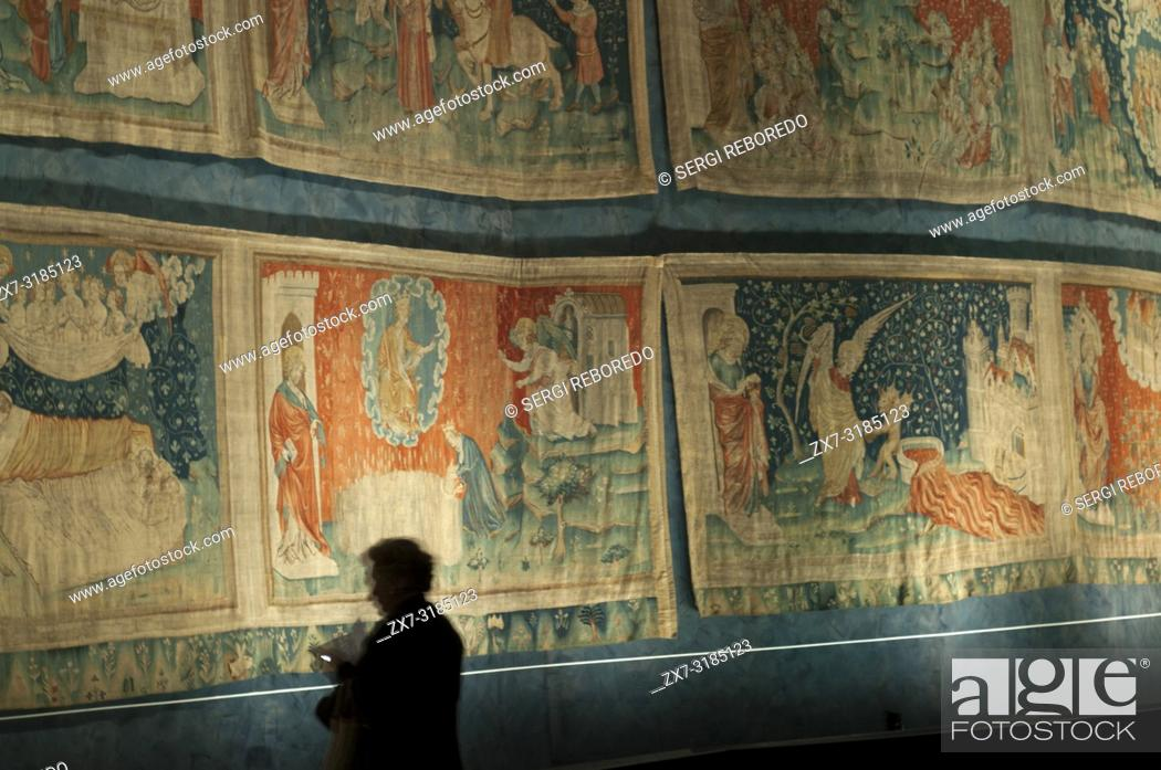 Stock Photo: Apocalypse of Saint John tapestry in the Castle of Angers, Angers, Maine et Loire Vallye, France.