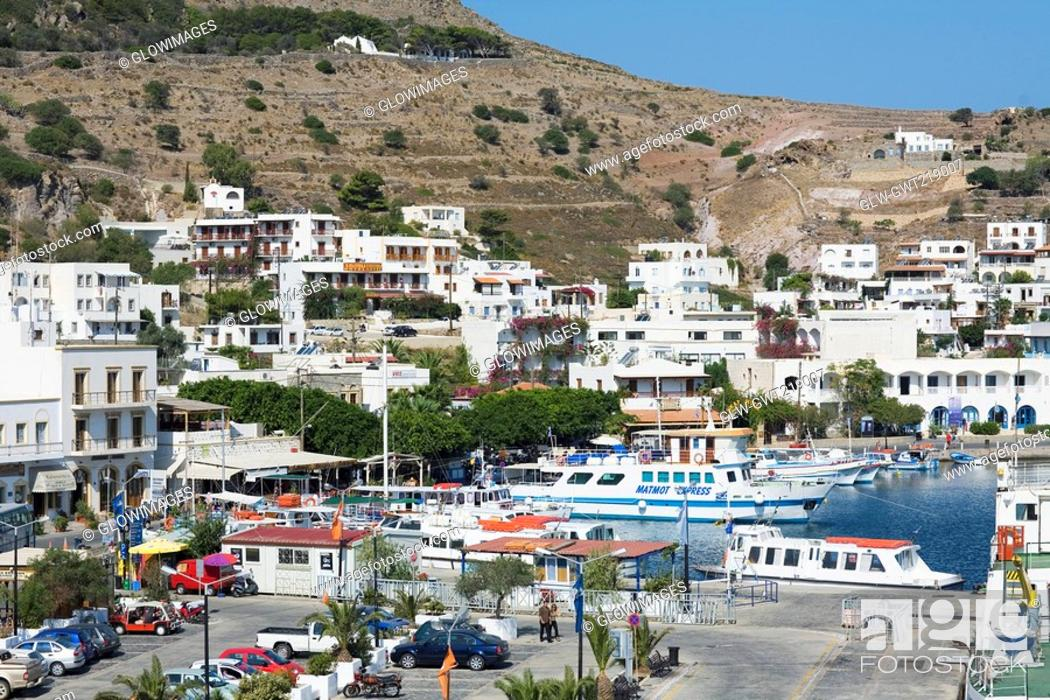 Stock Photo: High angle view of a harbor in a city, Skala, Patmos, Dodecanese Islands, Greece.