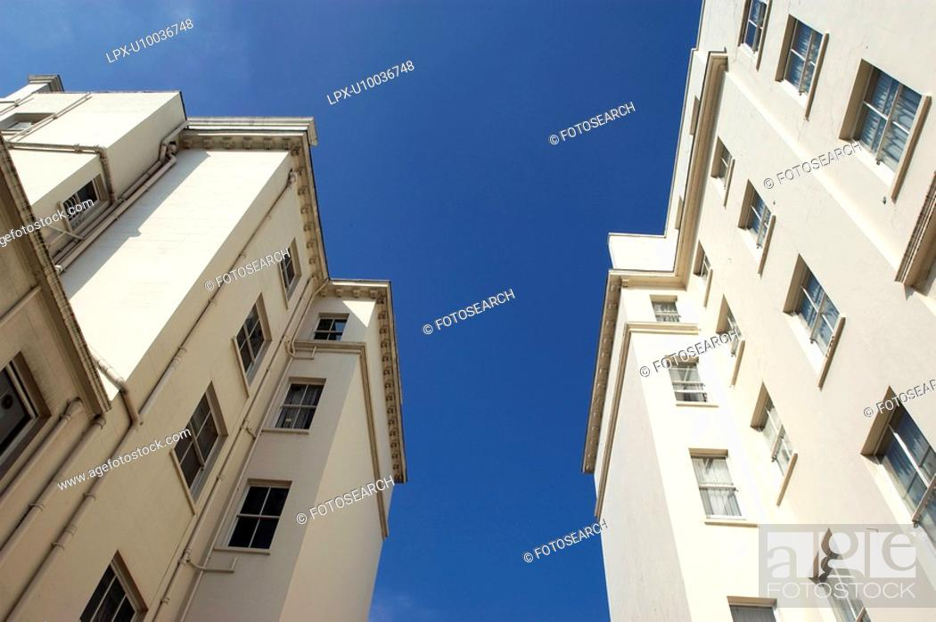 Stock Photo: View looking up towards apartments in Kensington.