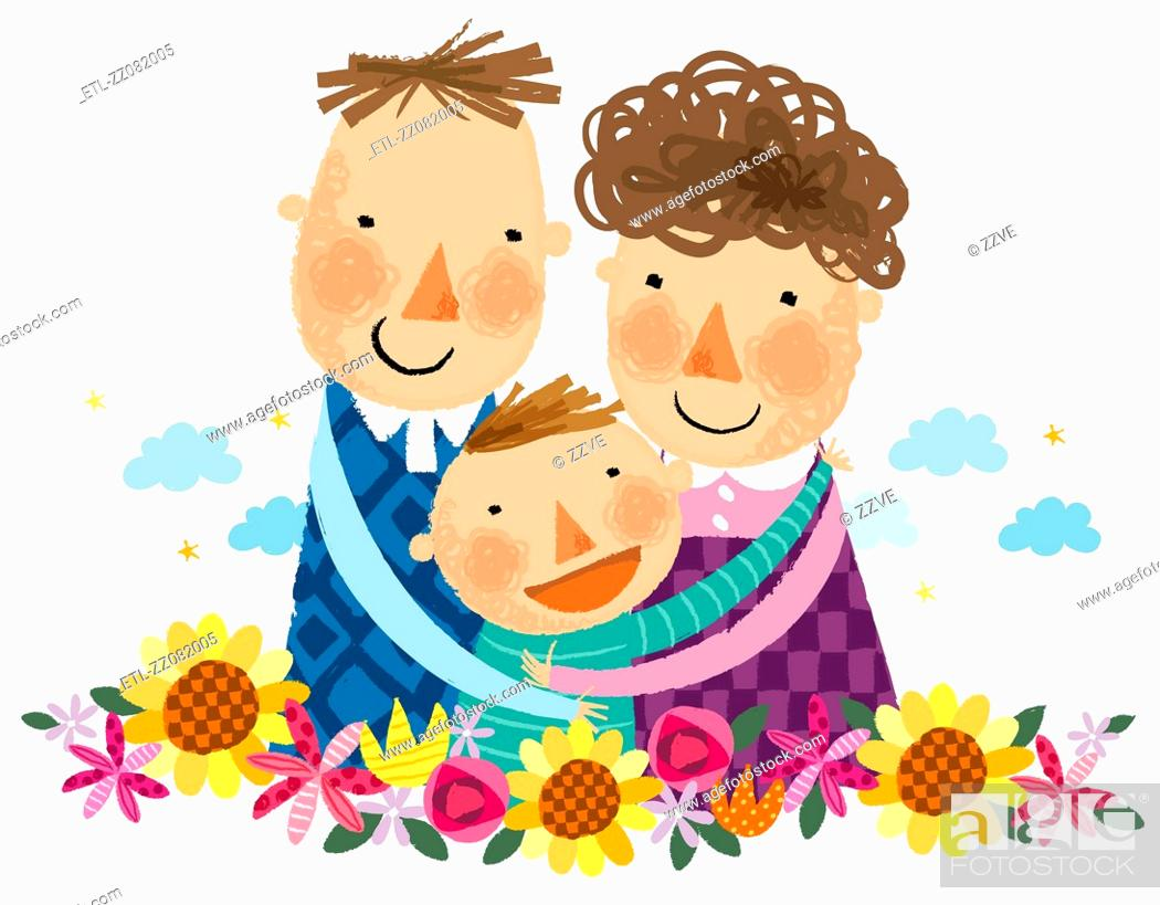 Stock Photo: portrait of happy family with one boy child.