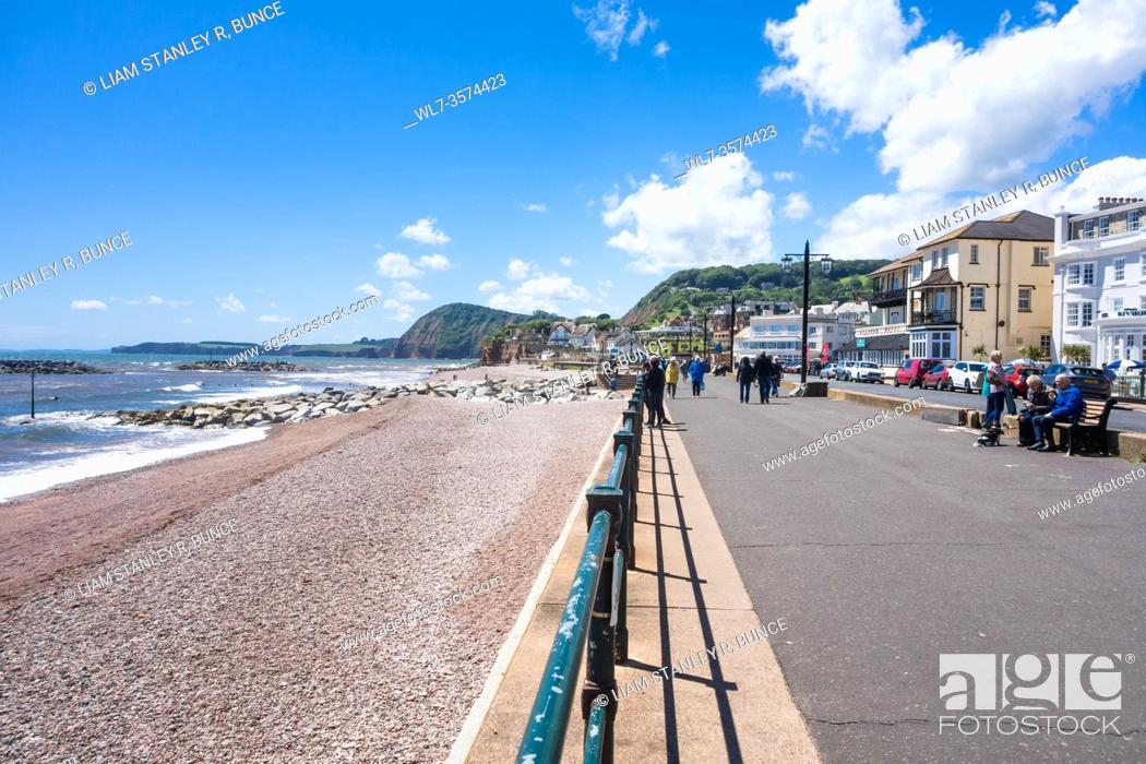 Stock Photo: Westerly view along the promenade at Sidmouth Devon UK. June 2019.