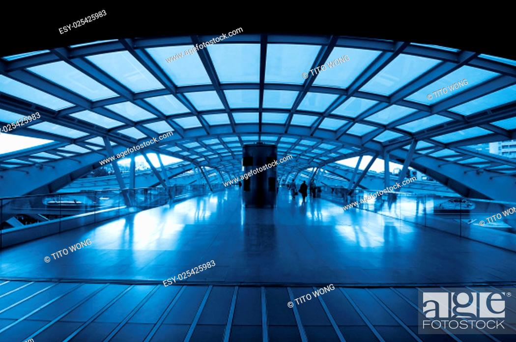 Stock Photo: The design architecture of modern train (subway) station.