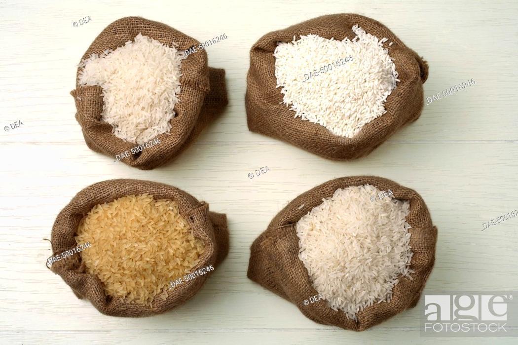 Stock Photo: Still life: Rice. Top to bottom and left to right: Thai rice, glutinous rice, Patna rice, long grain basmati rice.