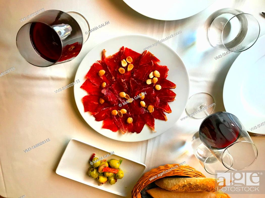 Stock Photo: Cecina serving, view from above. Spain.