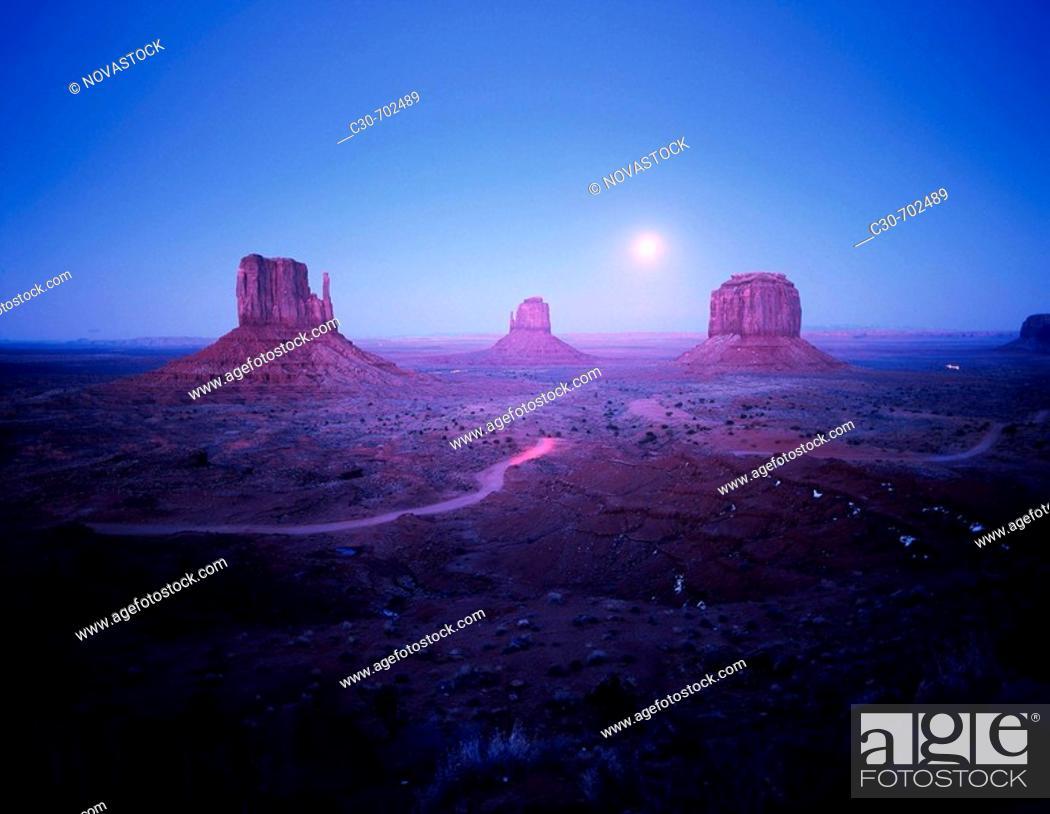 Stock Photo: Mesas at night, western USA.