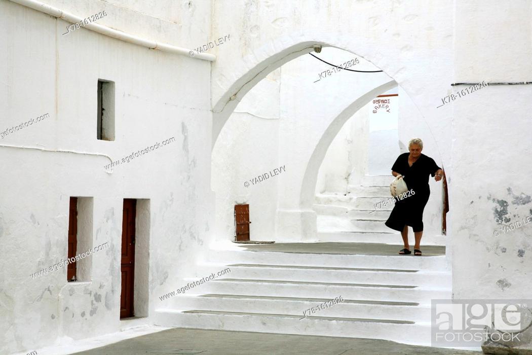 Stock Photo: Street scene in panormitis, Symi, Greece.