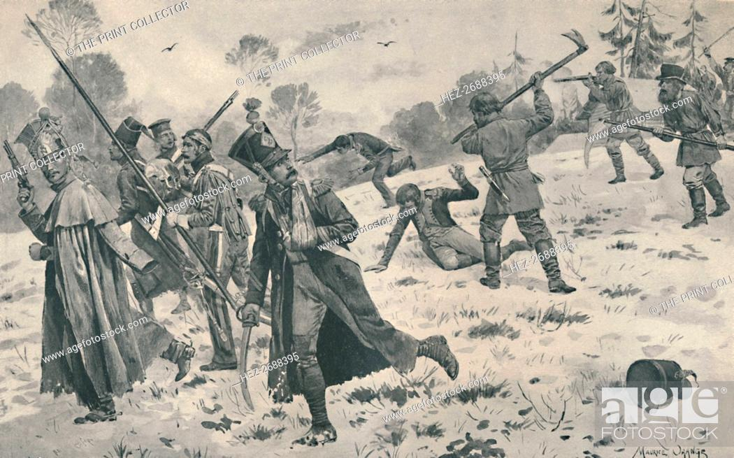 Stock Photo: 'Russian Peasants Attacking French Stragglers', 1812, (1896). Artist: Unknown.