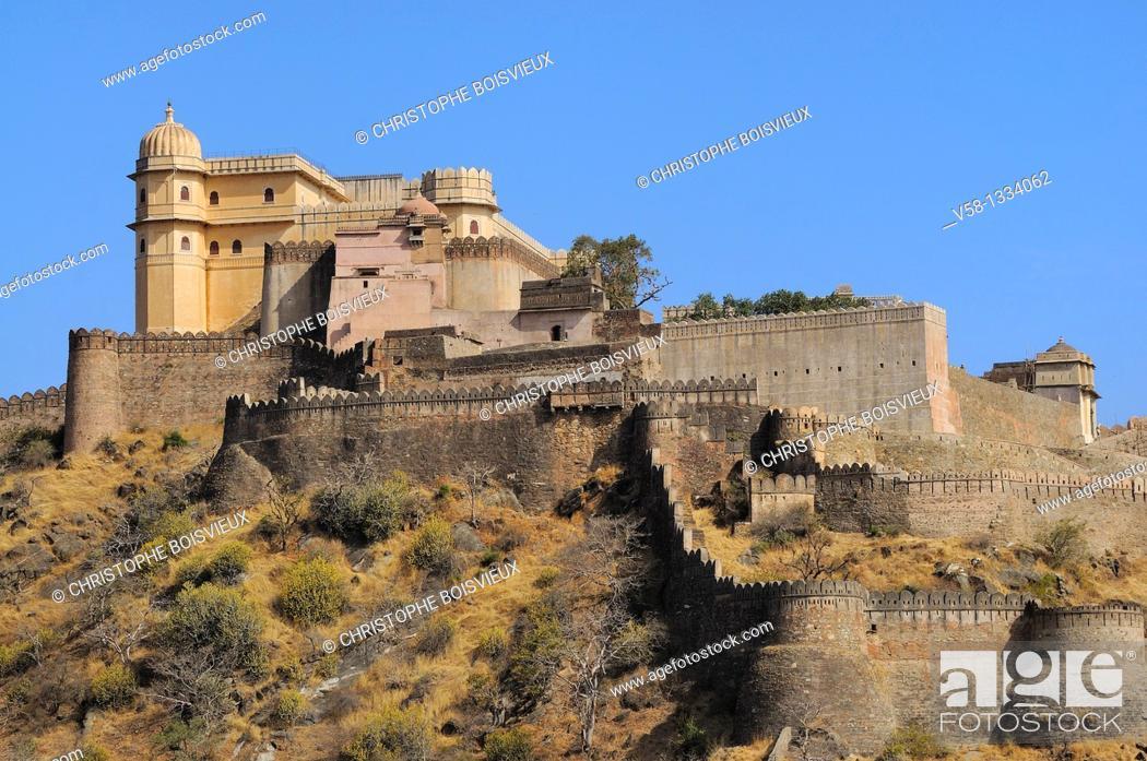 Stock Photo: India, Rajasthan, Kumbalgarh fort.