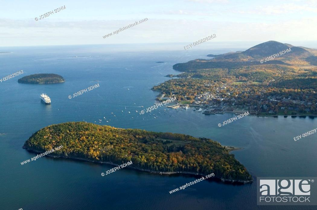Stock Photo: Aerial view of Porcupine Islands, Frenchman Bay and Holland America cruise ship in harbor, Acadia National Park, Maine.