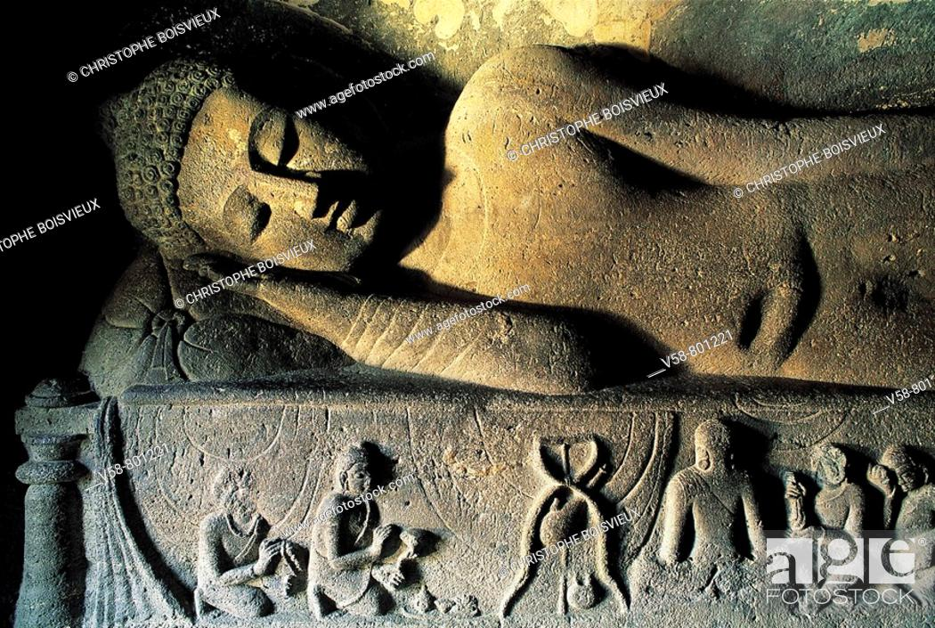 Stock Photo: BUDDHA IN PARINIVARNA POSTURE, CAVE 26, AJANTA, INDIA.