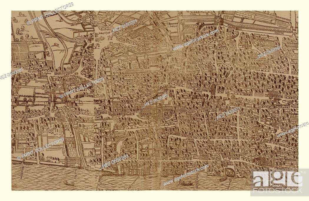 Stock Photo: Civitas Londinum, c1560-1620, (1886). Artist: Ralph Agas.